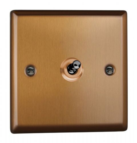Varilight XYT1.BZ Urban Brushed Bronze 1 Gang 10A 1 or 2 Way Toggle Light Switch